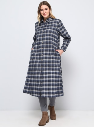 Blue - Navy Blue - Plaid - Point Collar - Plus Size Tunic