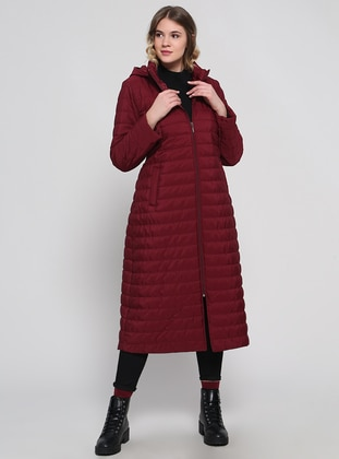 Maroon - Cherry - Fully Lined - Plus Size Overcoat
