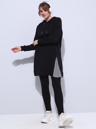 Black - Cotton - Plus Size Tunic