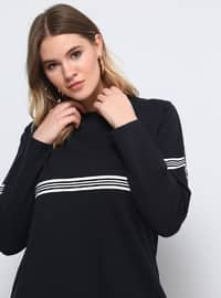 Navy Blue - Stripe - Crew neck - Cotton - Plus Size Tunic