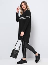 Black - Stripe - Crew neck - Cotton - Plus Size Tunic