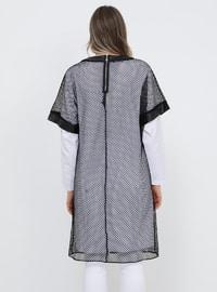 Black - White - Crew neck - Unlined - Cotton - Plus Size Suit
