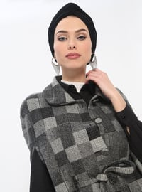Black - Gray - Checkered - Unlined - Round Collar - Cotton - Topcoat
