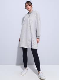 Gray - Cotton - Plus Size Tunic