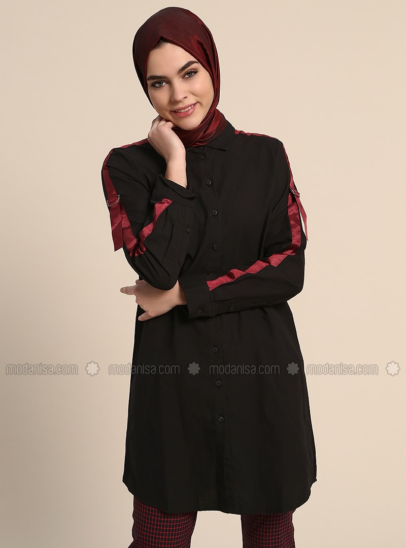Black - Point Collar - Cotton - Tunic