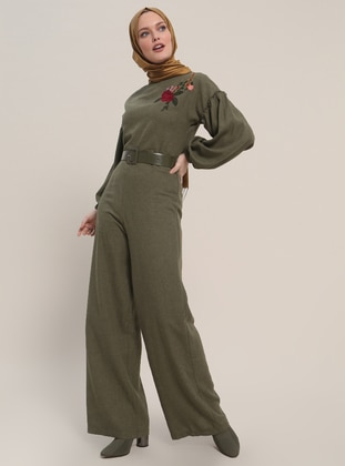 Khaki - Unlined - Crew neck - Cotton - Jumpsuit