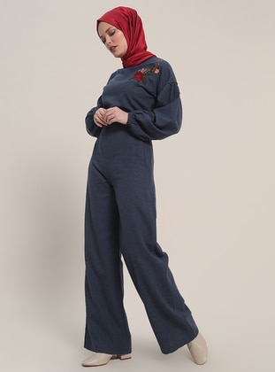 Navy Blue - Unlined - Crew neck - Cotton - Jumpsuit