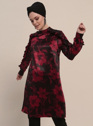 Maroon - Multi - Polo neck - Tunic