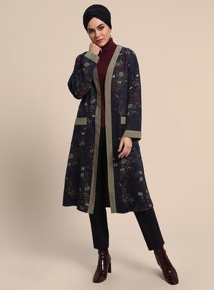 Navy Blue - Floral - Unlined - V neck Collar - Topcoat