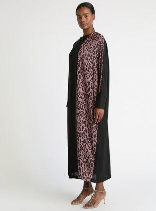 6c5c3c277 أسود - بني - نمط الفهد - قبة مدورة - نسيج مبطن - فستان