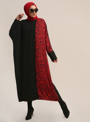 Red - Black - Leopard - Crew neck - Fully Lined - Dresses