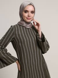 Khaki - Stripe - Crew neck - Unlined - Dresses