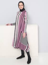 Black - Pink - Purple - Stripe - Crew neck - Viscose - Tunic