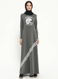 Smoke-coloured - Crew neck - Unlined - Dresses