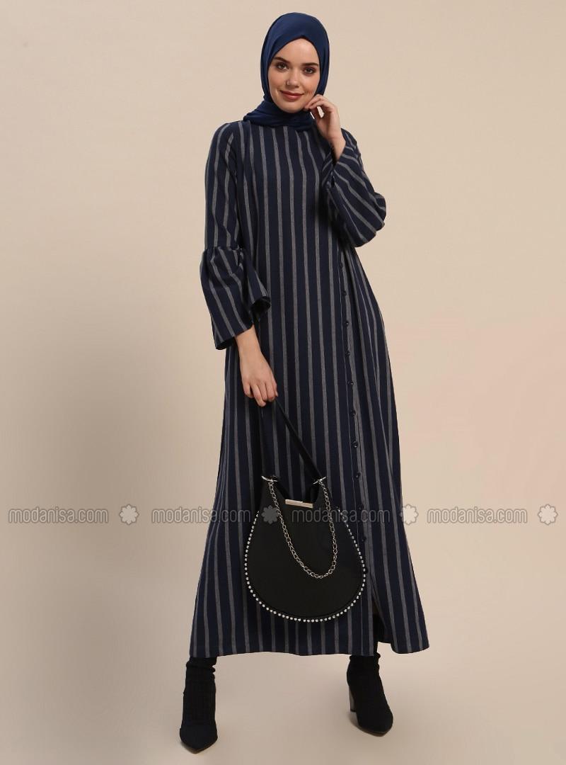 Indigo   Stripe   Crew Neck   Unlined   Dresses by Modanisa
