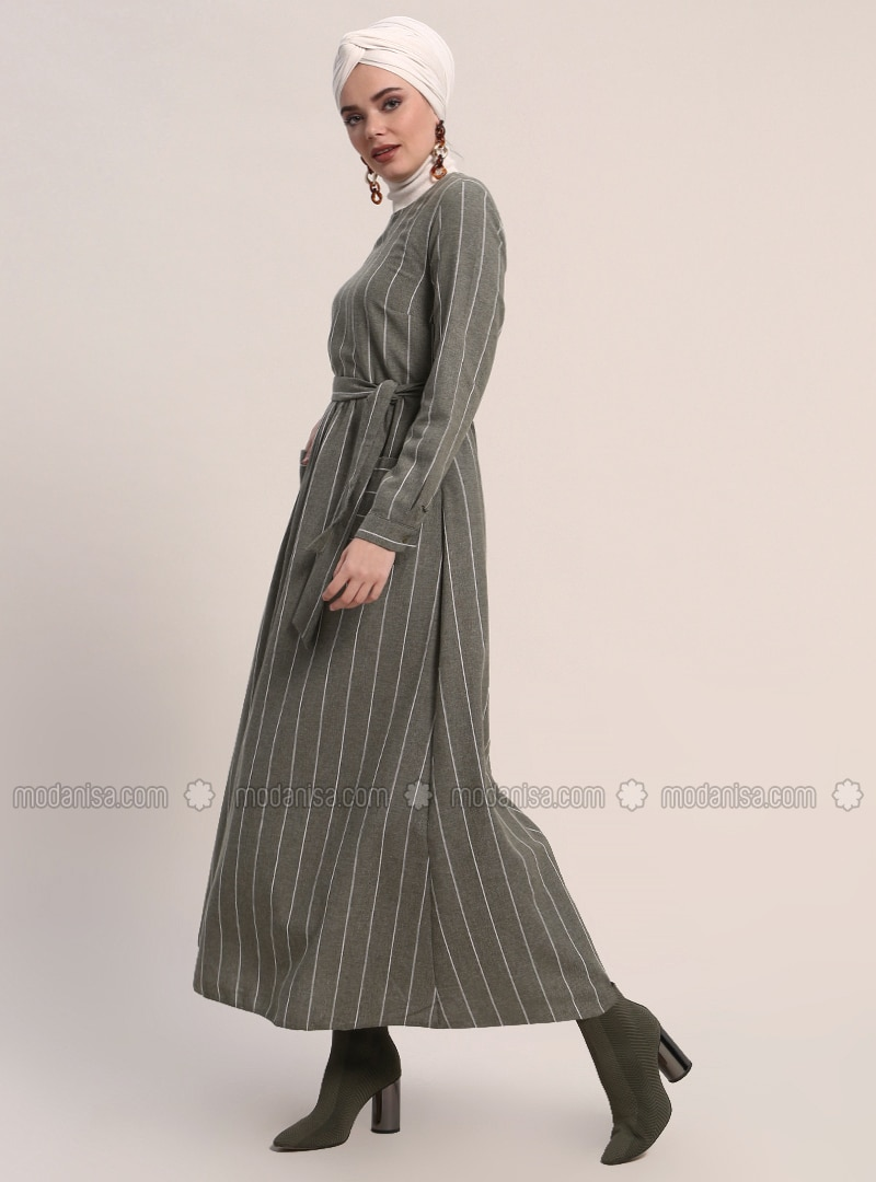Khaki - Stripe - Crew neck - Unlined - Cotton - Dresses