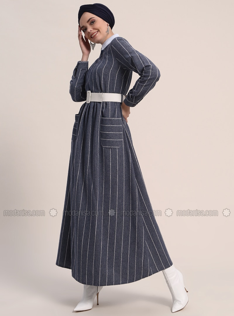Navy Blue   Stripe   Crew Neck   Unlined   Cotton   Dresses by Modanisa