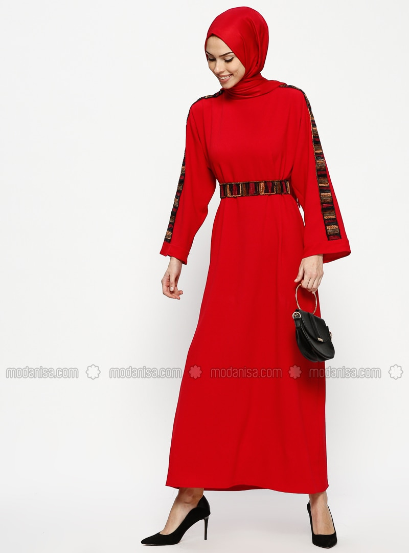 Red - Crew neck - Unlined - Dresses