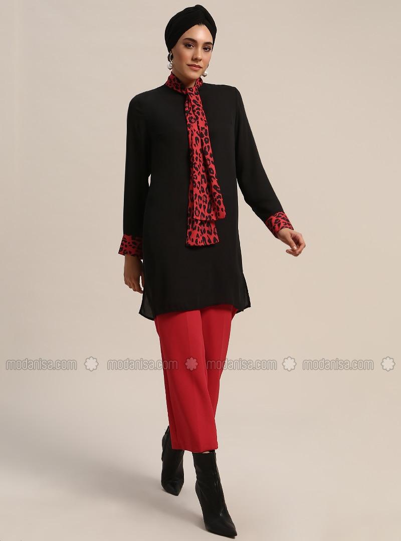 Red - Black - Leopard - Polo neck - Tunic