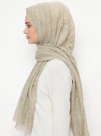 Beige - Plain - Cotton - Shawl
