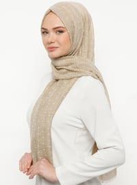 Beige - Plain - Cotton - Shawl