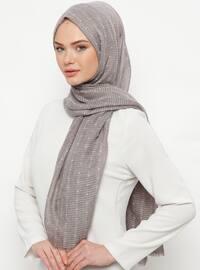 Gray - Plain - Cotton - Shawl