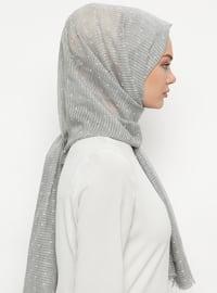 Silver tone - Plain - Cotton - Shawl