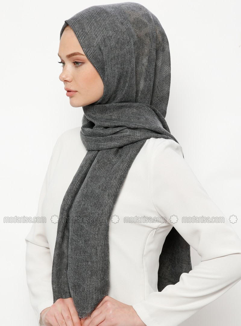 Anthracite - Plain - Cotton - Shawl