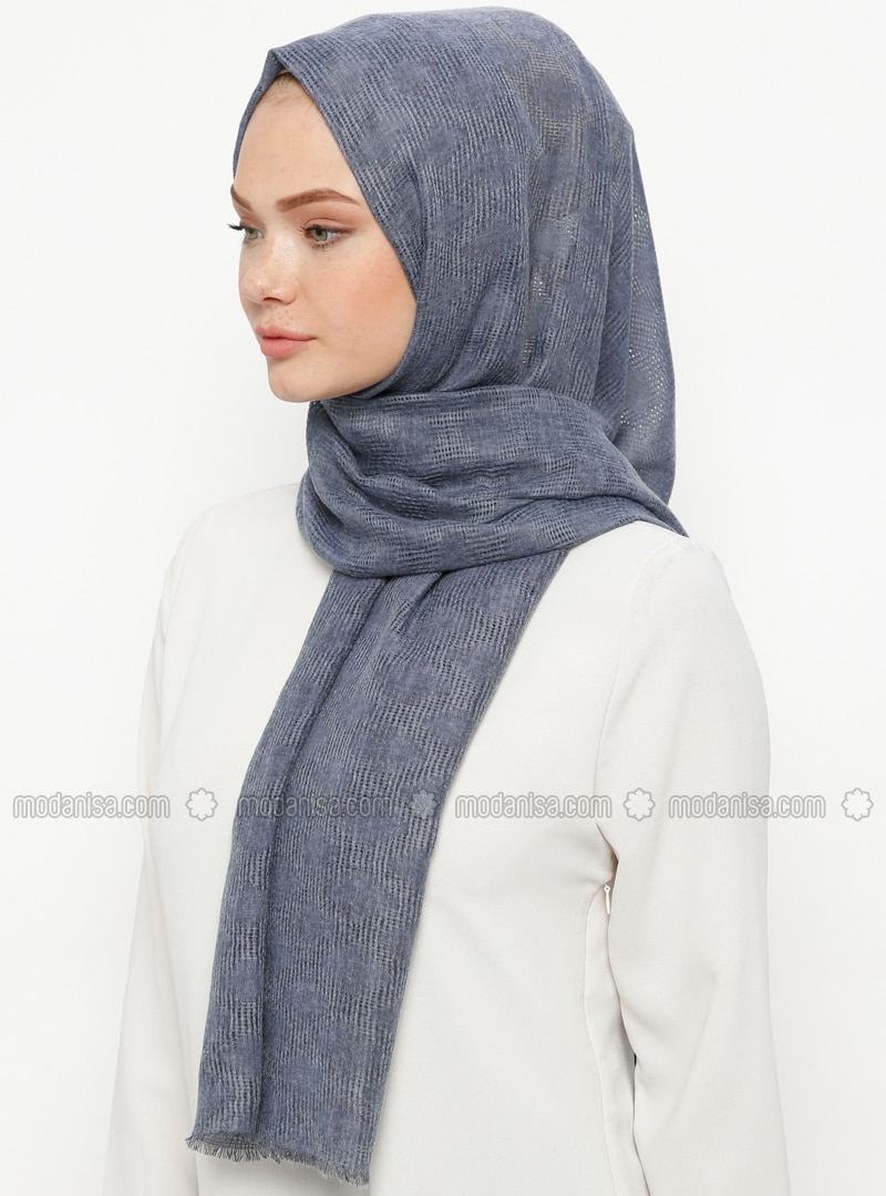 Navy Blue - Plain - Cotton - Shawl
