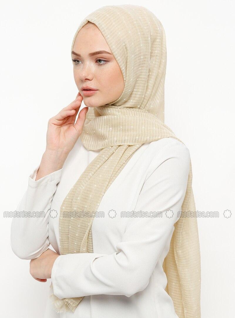 Cream - Plain - Cotton - Shawl