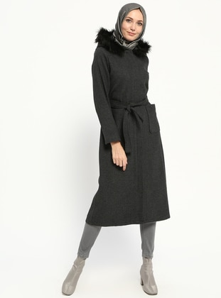 Anthracite - Multi - Unlined - Coat - Miss Cazibe