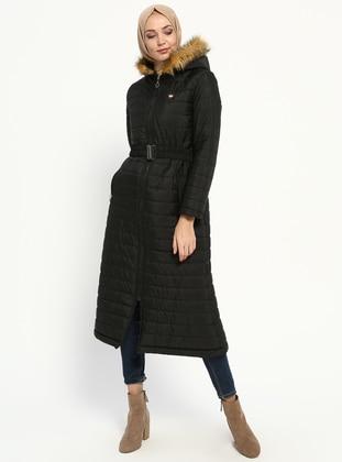 Black - Fully Lined - Coat - Miss Cazibe