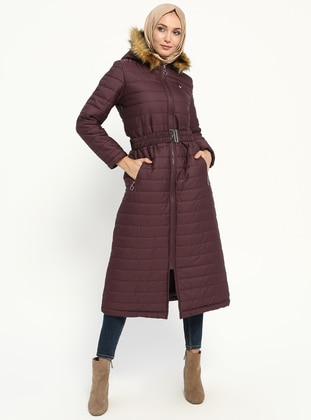 Plum - Fully Lined - Coat - Miss Cazibe