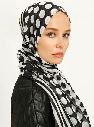Black - White - Printed - Shawl