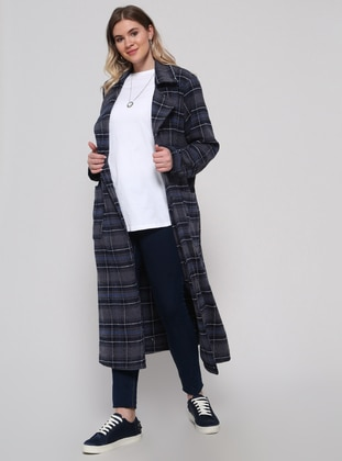 Navy Blue - Plaid - Unlined - Shawl Collar - Plus Size Coat