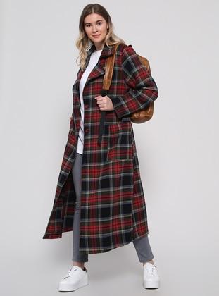 Black - Plaid - Unlined - Shawl Collar - Plus Size Coat - Alia