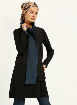 Blue - Black - Shawl Collar - Tunic