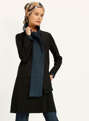 Blue - Black - Shawl Collar - Tunic