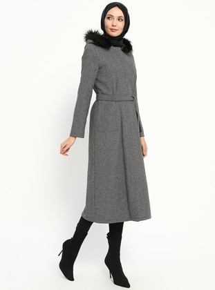 Gray - Multi - Unlined - Coat - Miss Cazibe