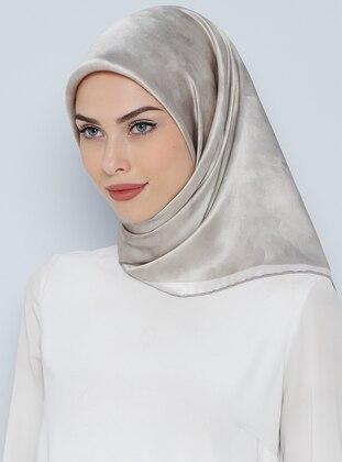 İpek Krep Saten Eşarp - Gümüş - Aker Ürün Resmi