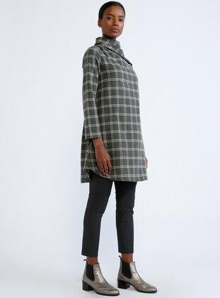White - Khaki - Stripe - Polo neck - Tunic