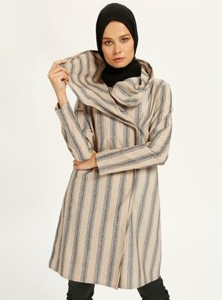 Gray - Ecru - Stripe - Tunic