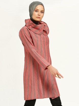 Red - Gray - Stripe - Tunic