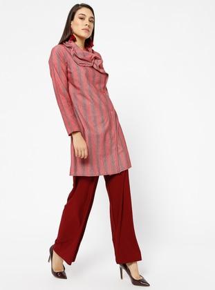 Red - Gray - Stripe - Tunic