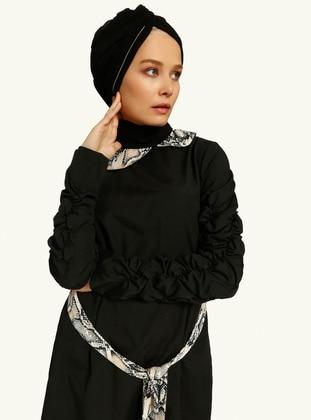 Black - Tan - Round Collar - Tunic