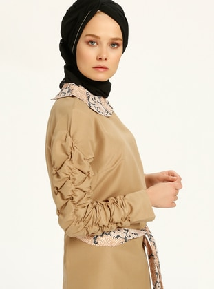 Brown - Tan - Round Collar - Tunic