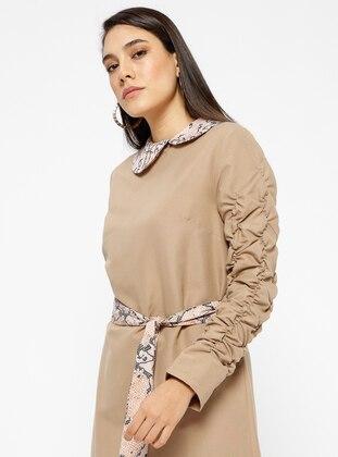 Brown - Tan - Round Collar - Tunic