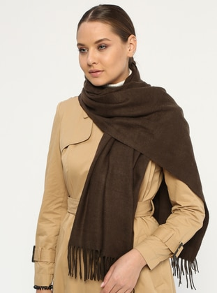 Brown - Plain - Fringe - Wool Blend - Acrylic - Shawl
