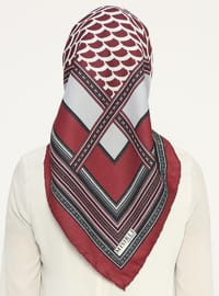 Gray - Maroon - Printed - Scarf