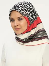 Red - Cream - Printed - Scarf